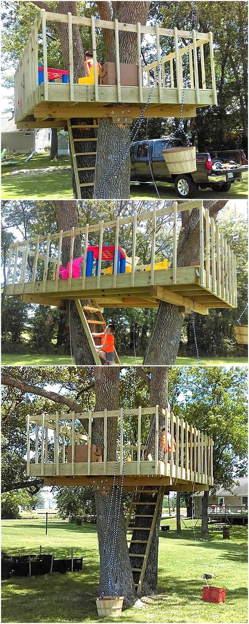 wood pallet made kids tree playhouse