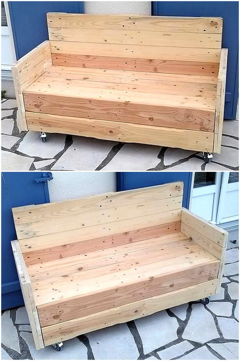 wood pallet outdoor bench on wheels
