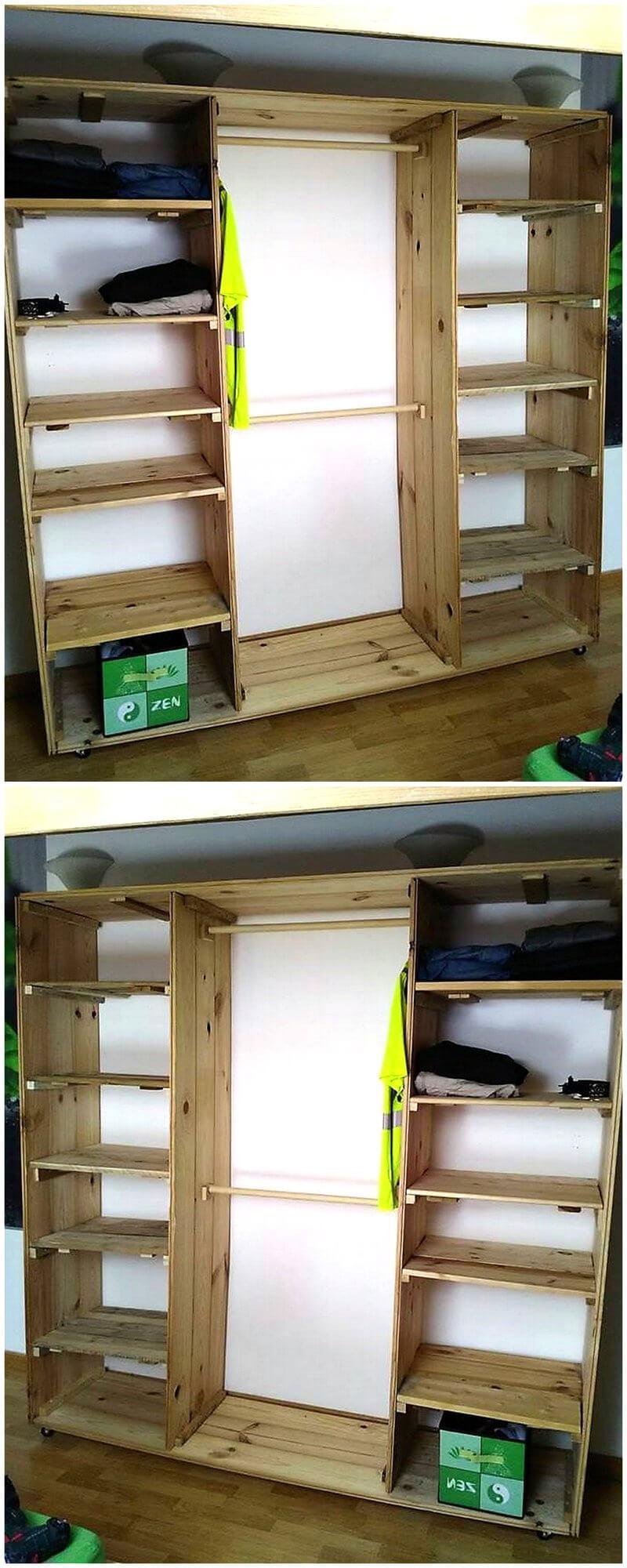 wood pallet wardrobe cabinet