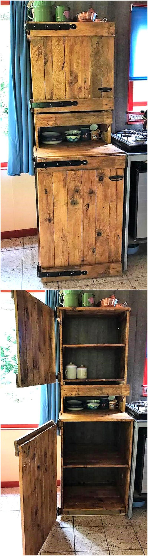 wood pallets kitchen storage cabinet