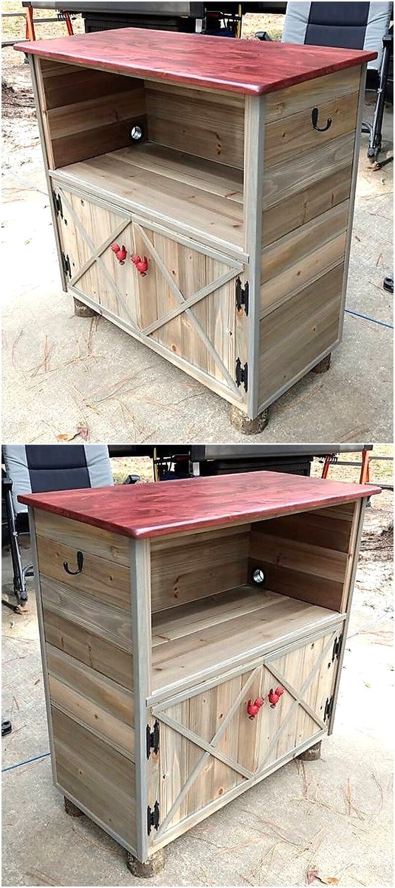 wood pallets storage cabinet
