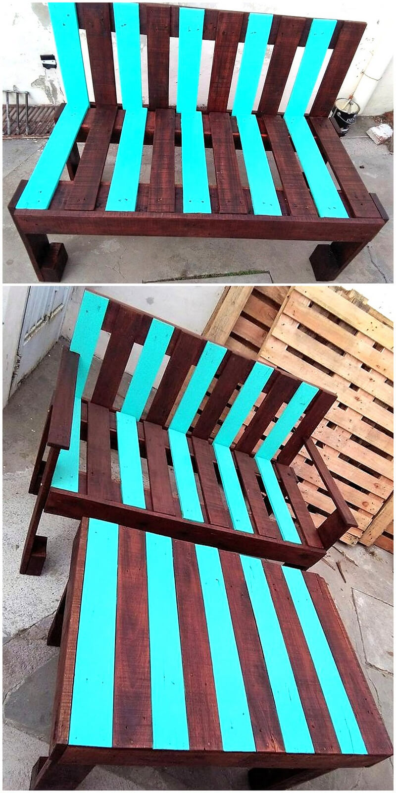 wooden pallet bench and table plan