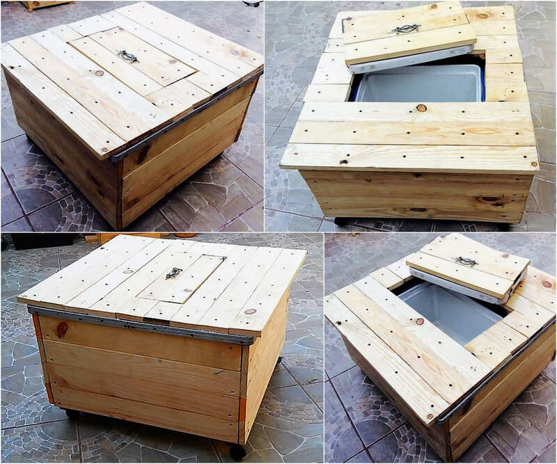 wooden pallet coffee table with cooler