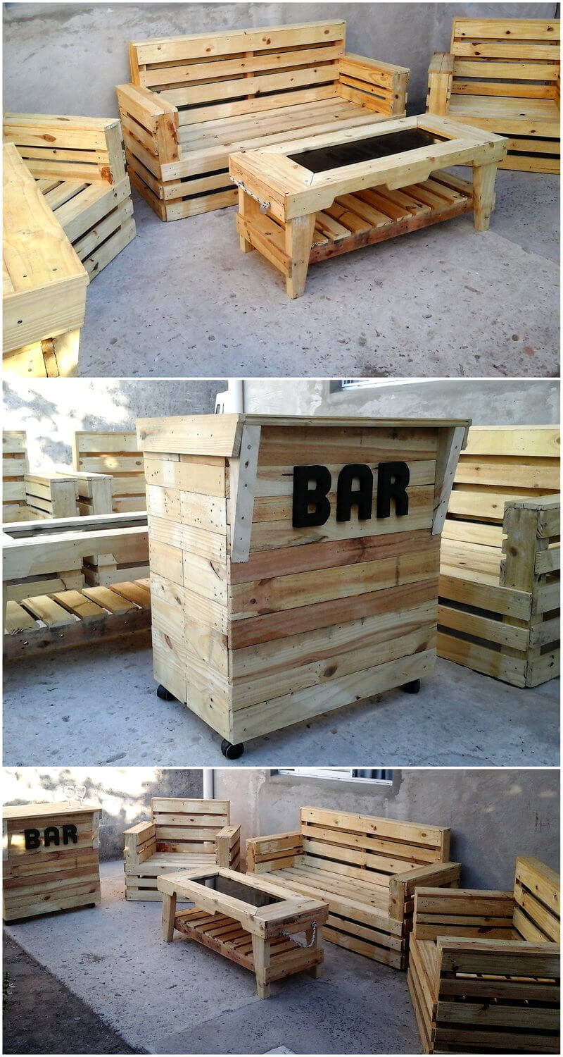 wooden pallet furniture with bar