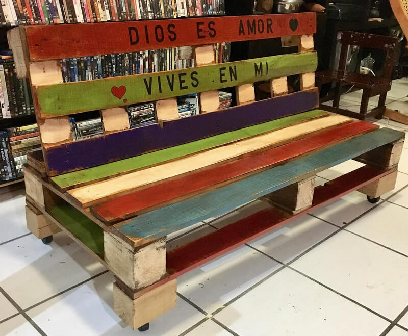 wooden pallet rustic bench