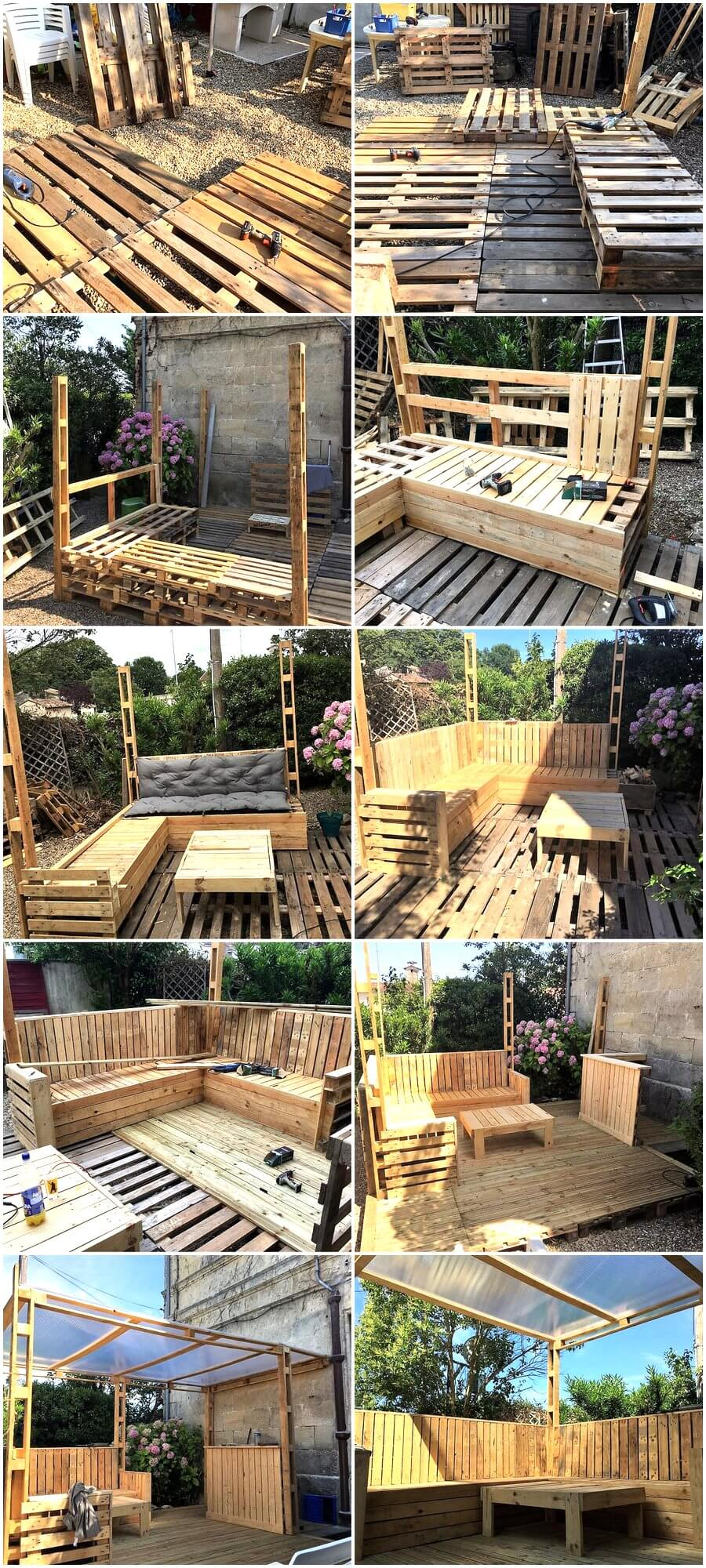DIY Wood Pallets Patio Gazebo Deck Plan