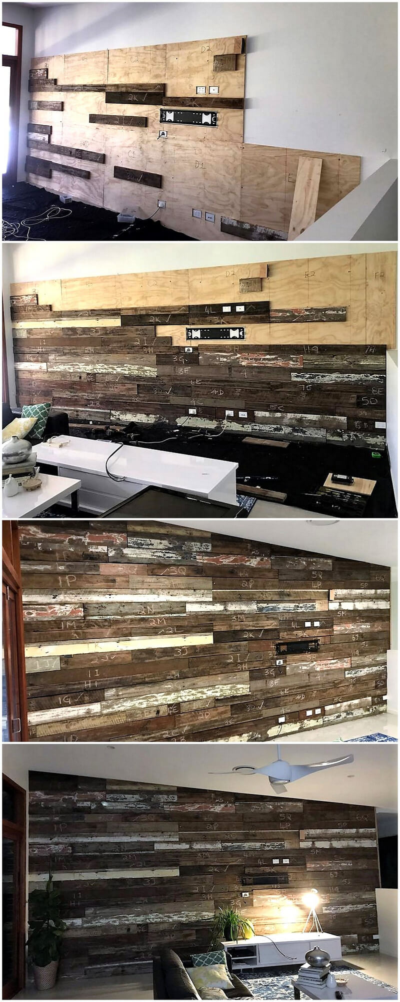 DIY wood pallet wall cladding