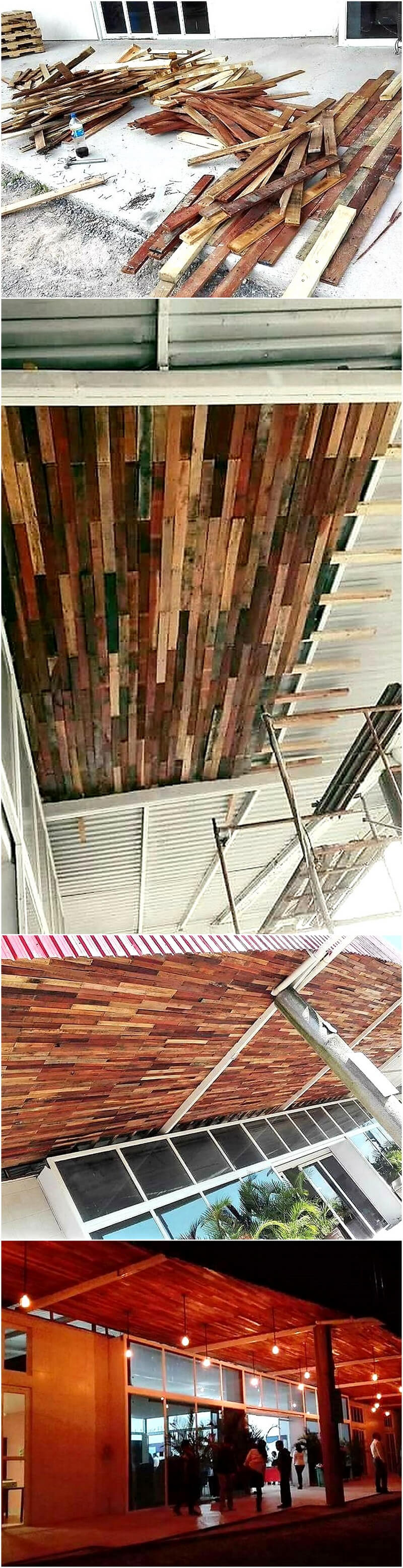 DIY wooden pallet roof ceiling