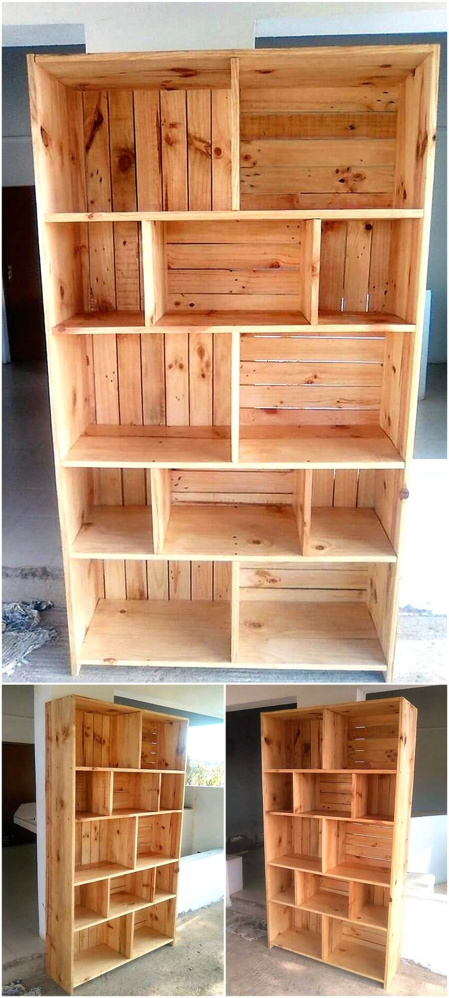 Reclaimed Pallets Wooden Made Shelving Cabinet Wood Pallet Furniture