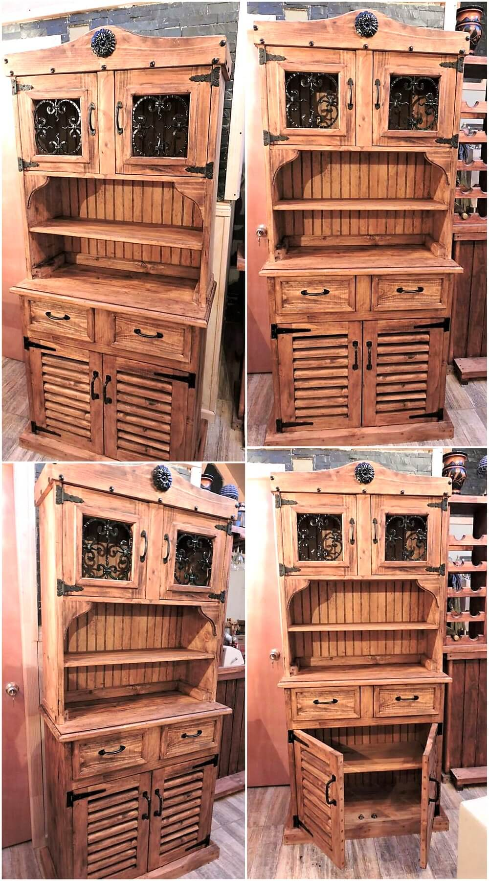 Recycled Wooden Pallets Rustic Cupboard Wood Pallet Furniture # Muebles Pailets