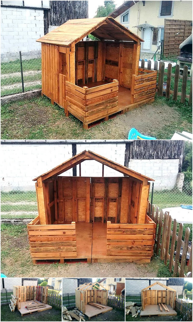 diy pallet wood patio playhouse
