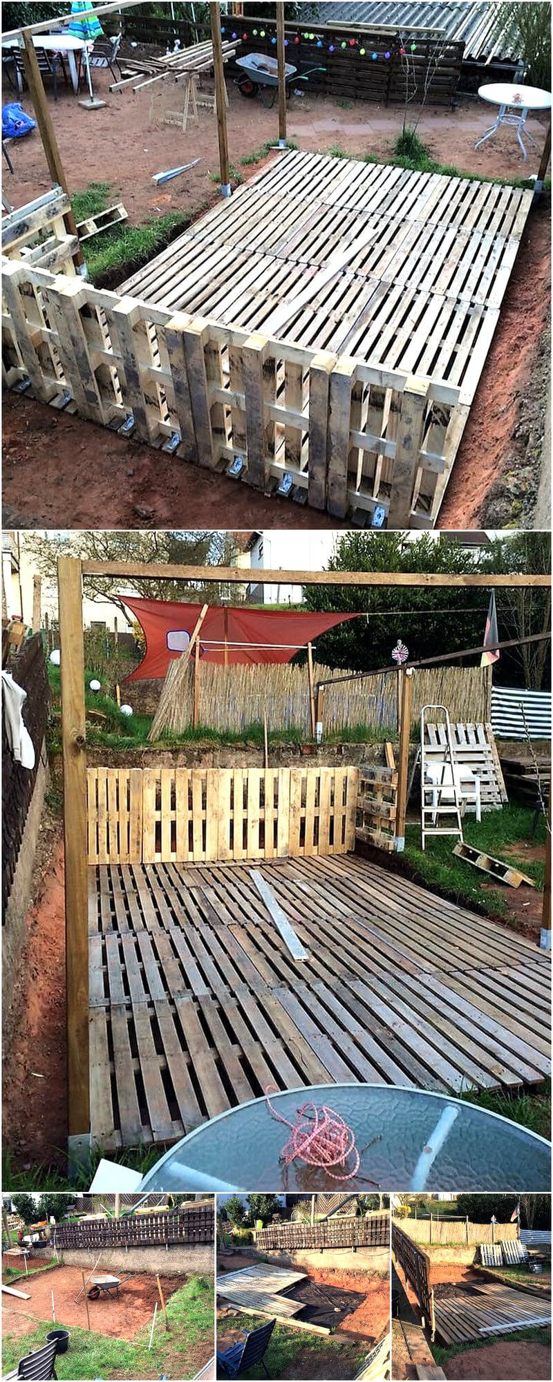 Convert old used pallets into something useful wood for Diy terrace