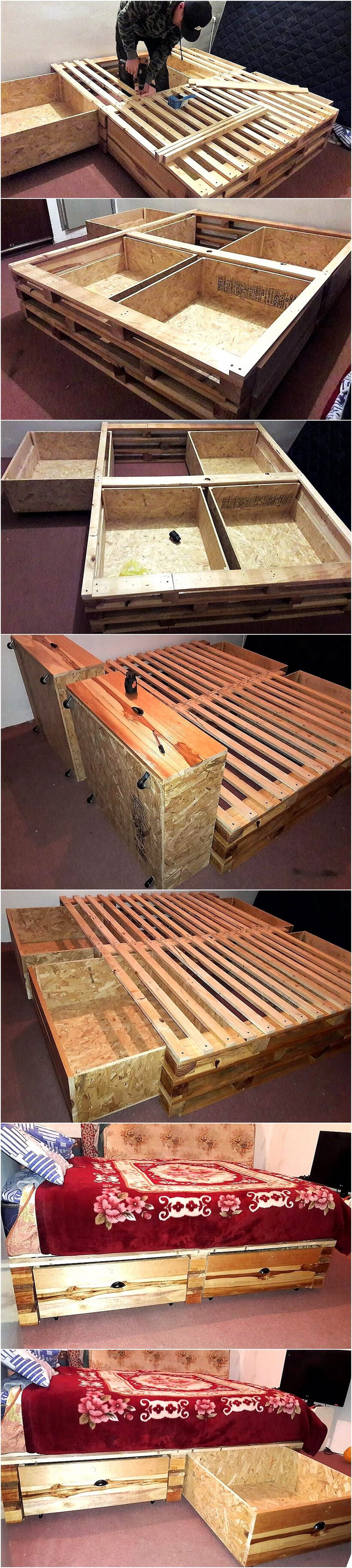 diy wood pallet bed with storage