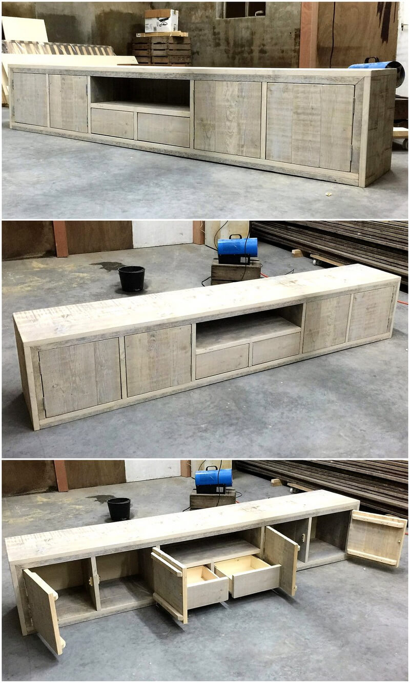 giant media stand out of pallets
