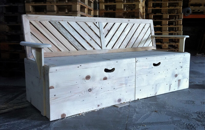 giant pallet bench with storage