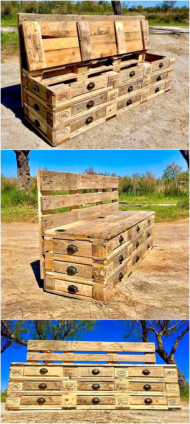 pallet chest of drawers cum bench