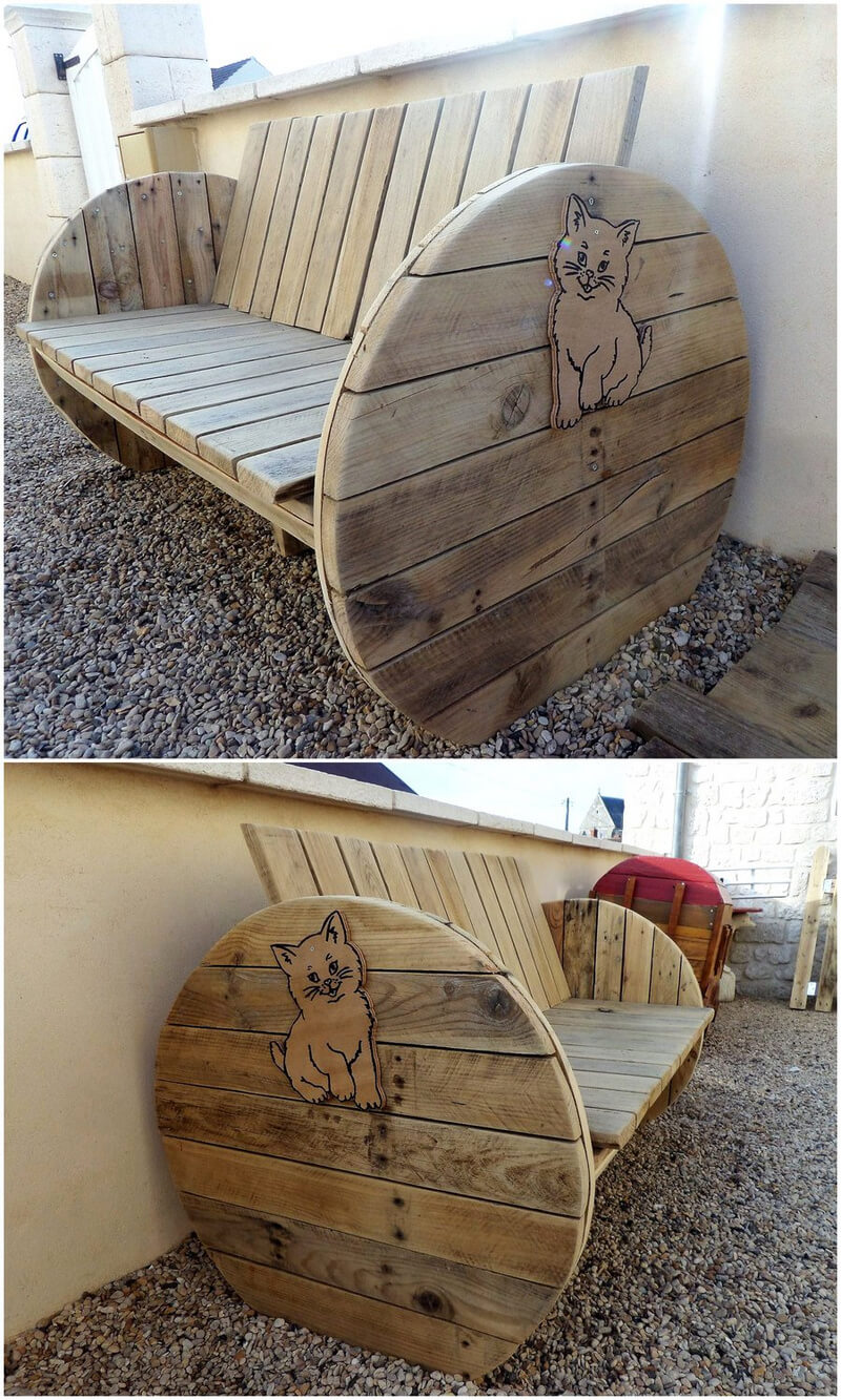 pallet plus cable spool bench