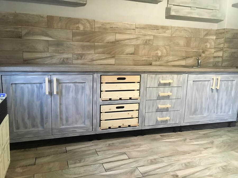 pallet wooden kitchen