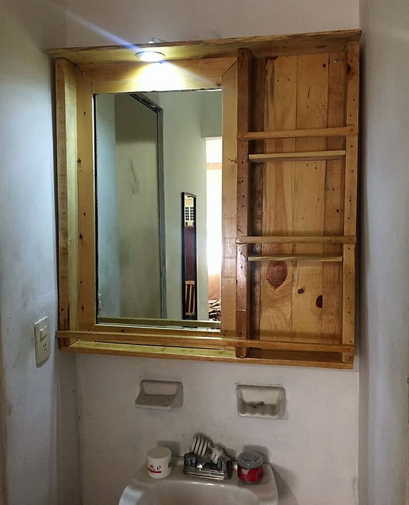 pallet wooden mirror shelf