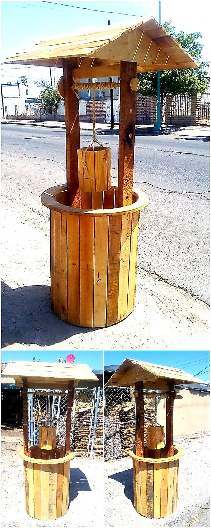 pallet wooden well art crafting