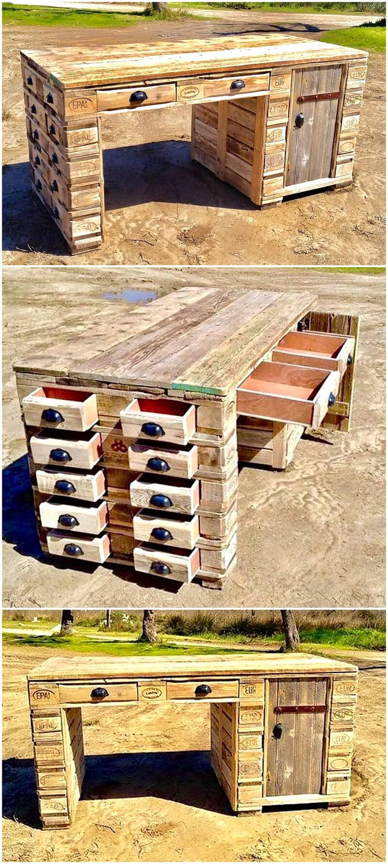 pallets desk with drawers