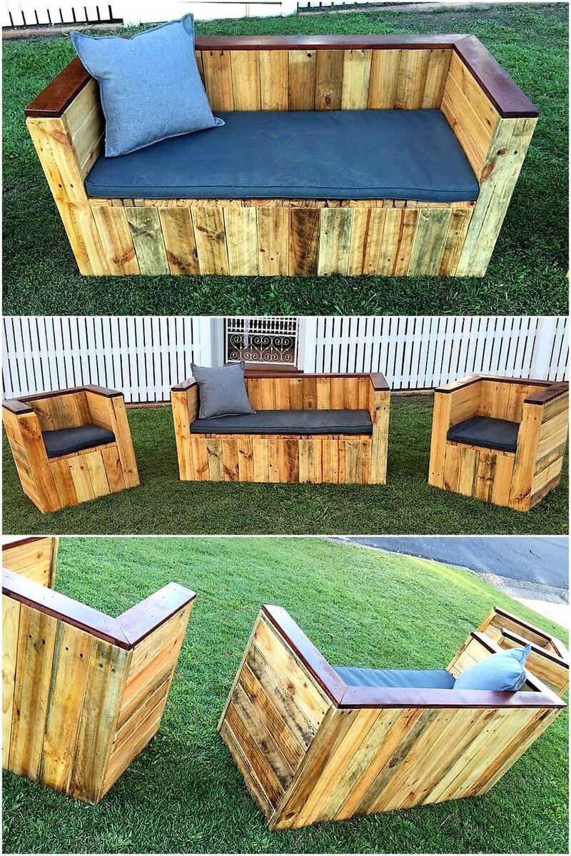 pallets garden couch plan