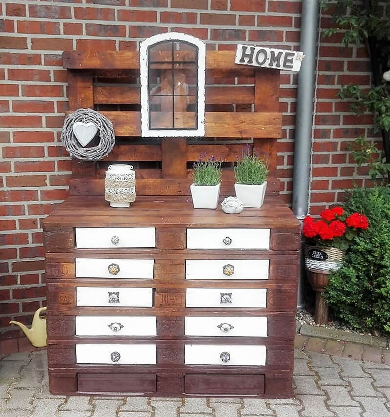 pallets garden potting stand with drawers