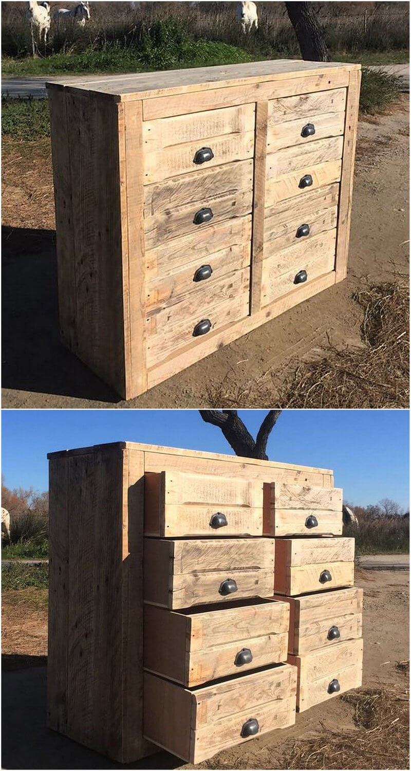 pallets hallway table with drawers