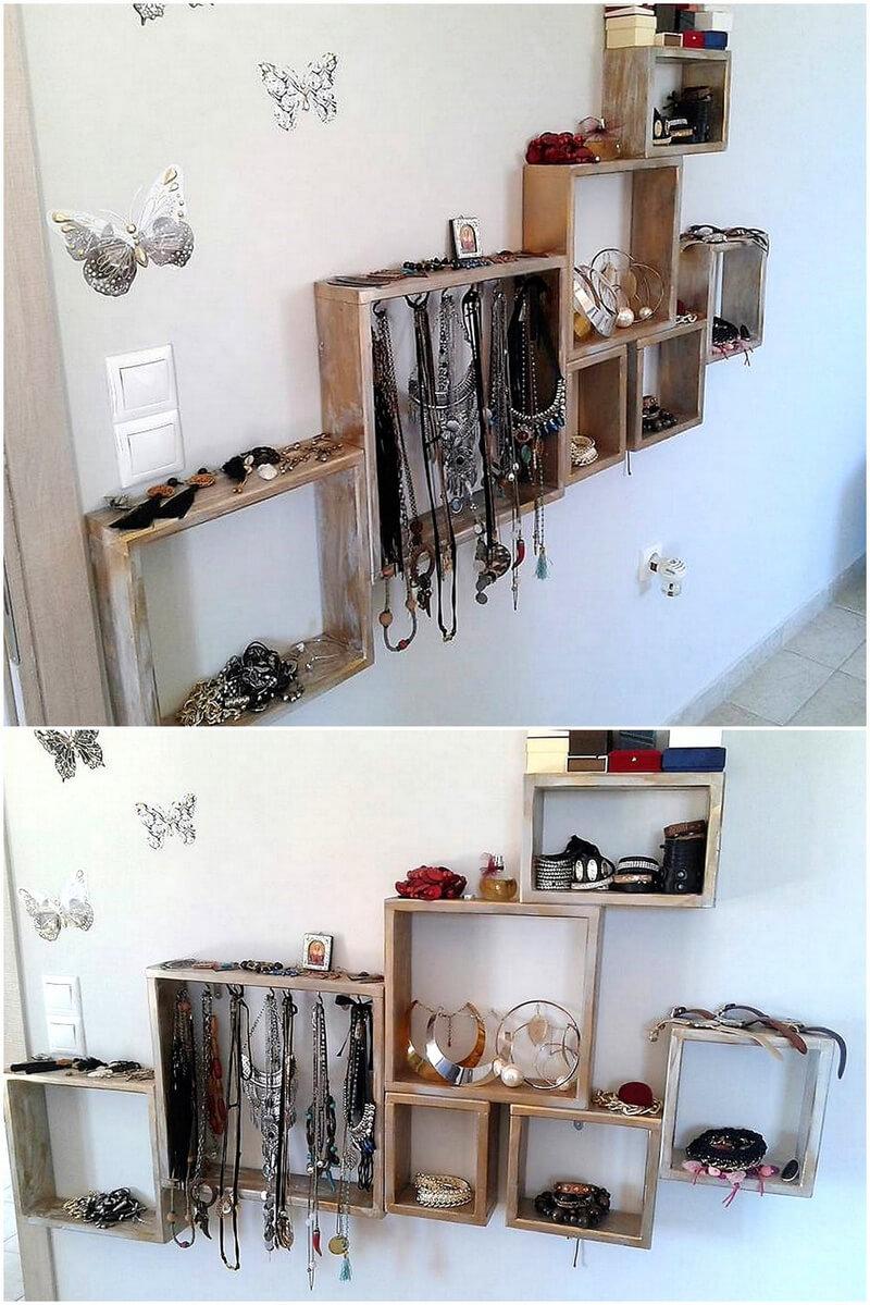 pallets jewelry shelves idea