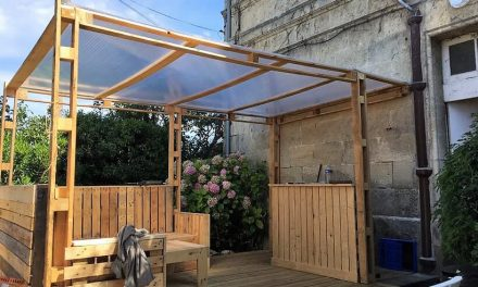 DIY Wood Pallets Patio Gazebo Deck with Furniture Plan