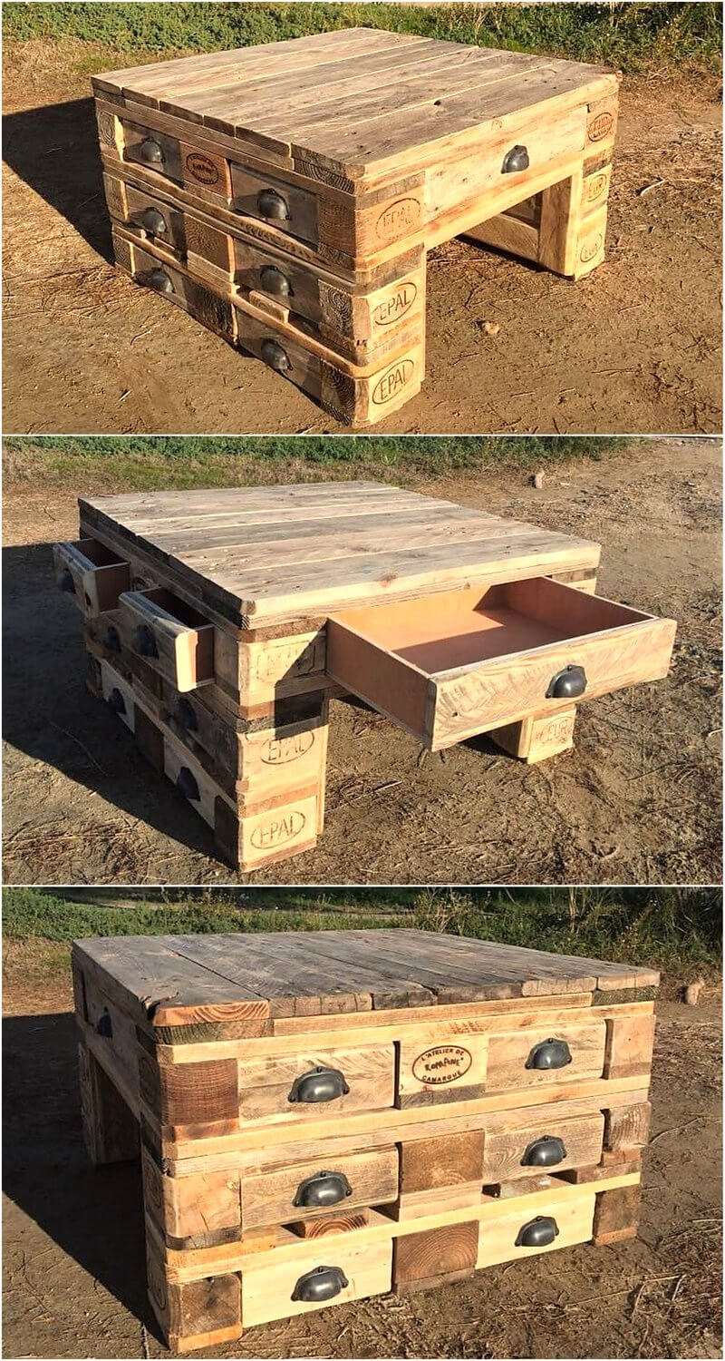 pallets table with drawers