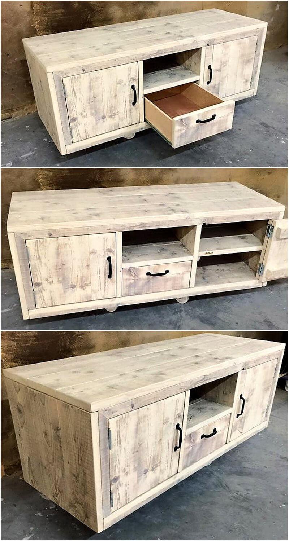 pallets wood tv stand idea
