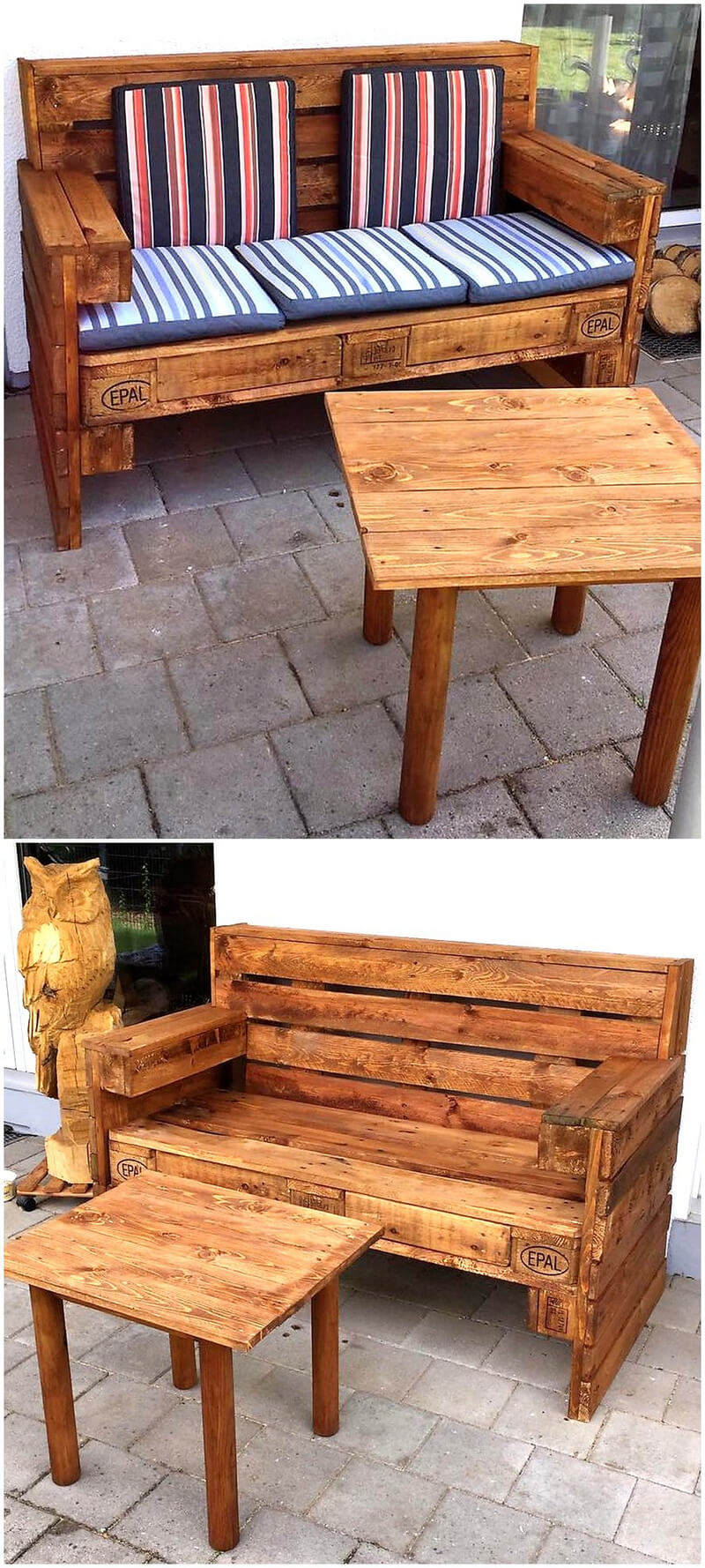pallets wooden patio couch with table