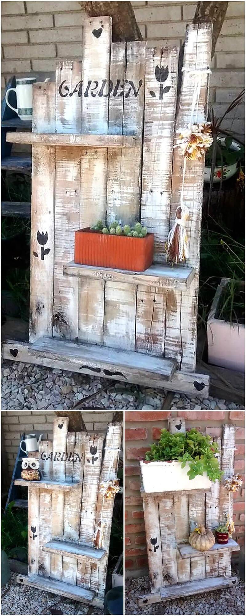 pallets wooden rustic shelf