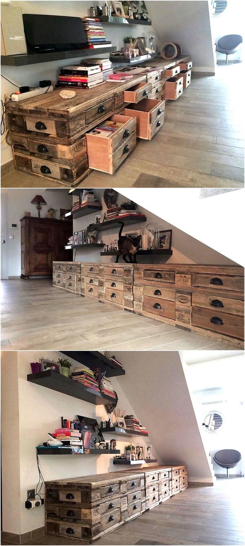pallets wooden storage drawers cabinet