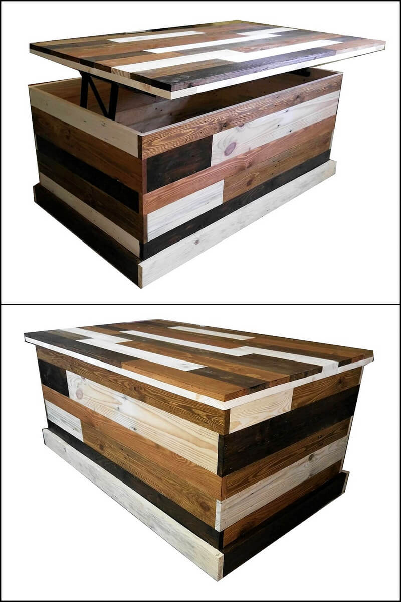 pallets wooden trunk cum table
