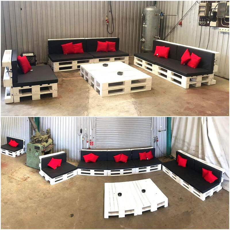 recycled pallets patio couch set