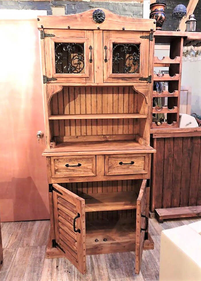 recycled wood pallets rustic cupboard