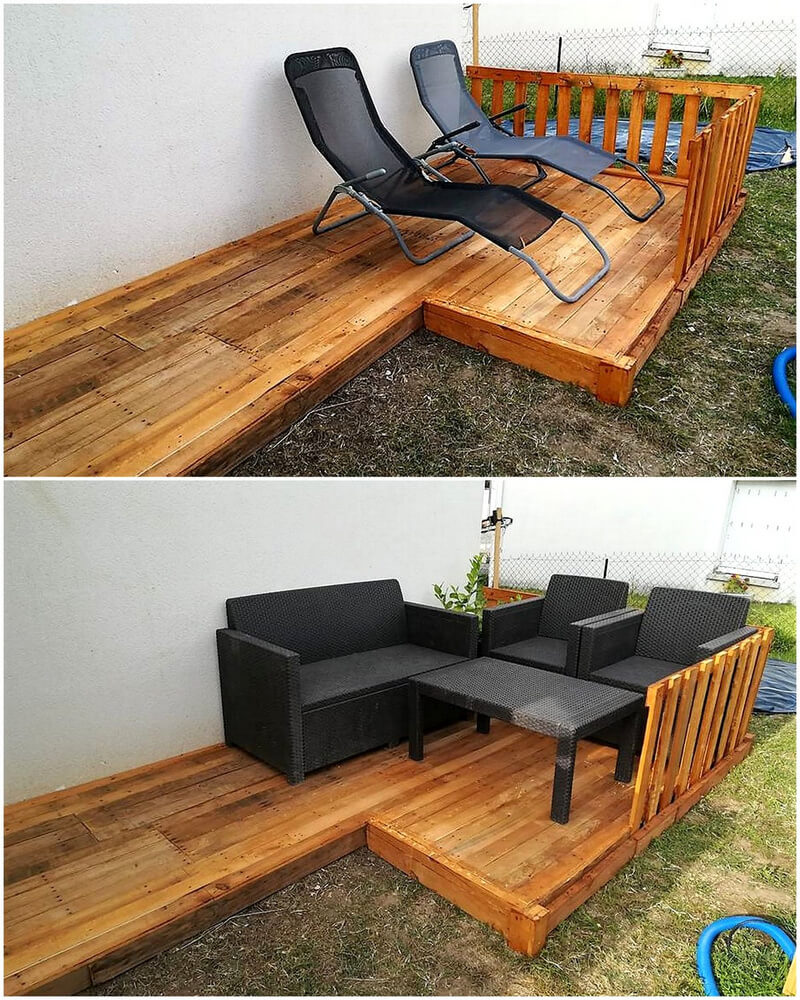 recycled wooden pallets patio terrace