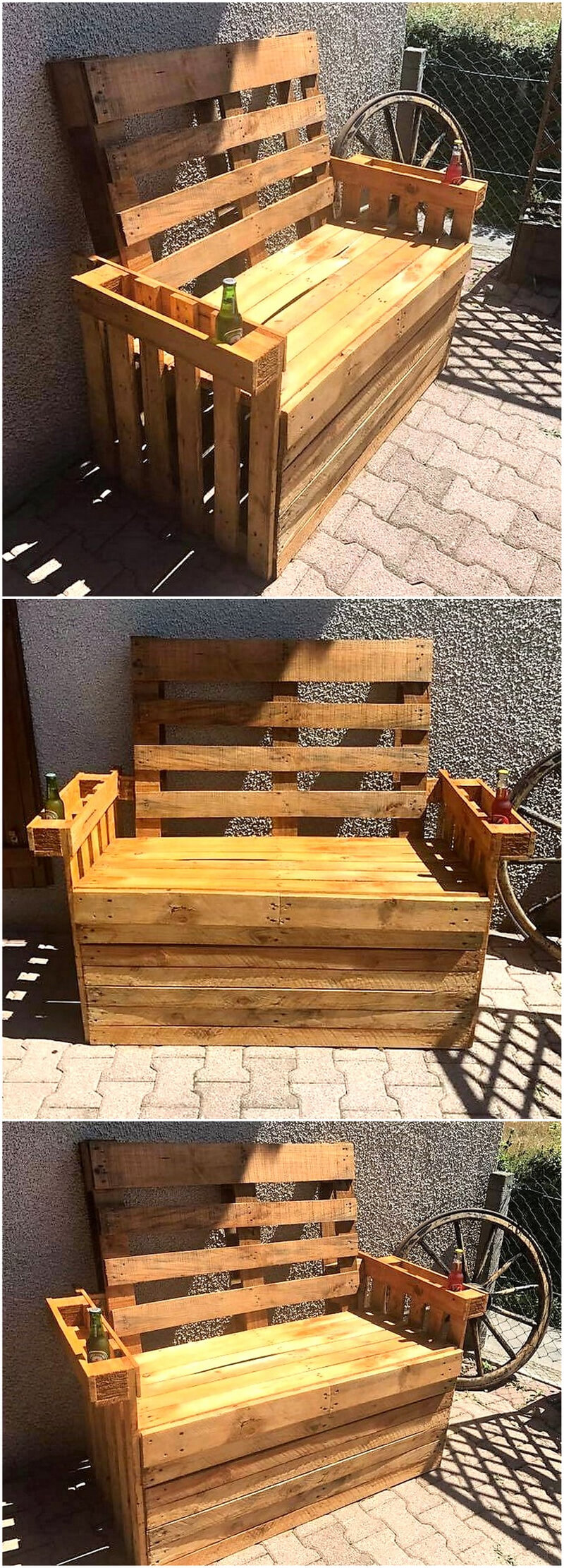 repurposed pallets outdoor bench