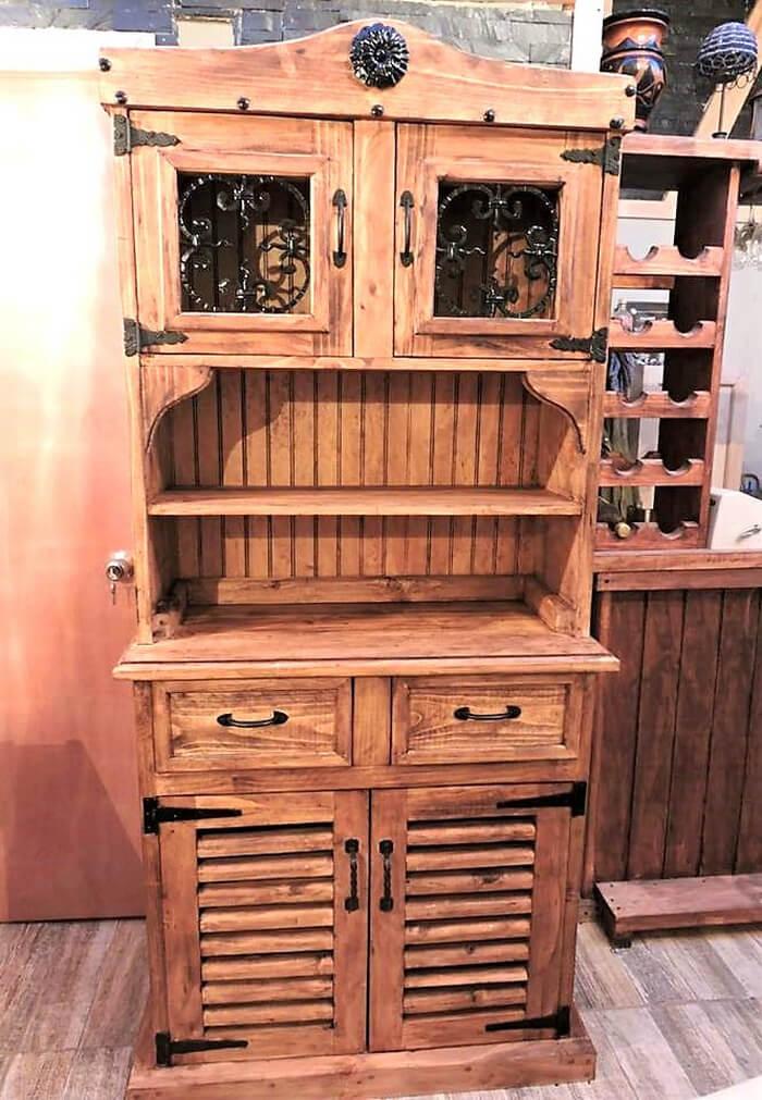 repurposed pallets rustic cupboard