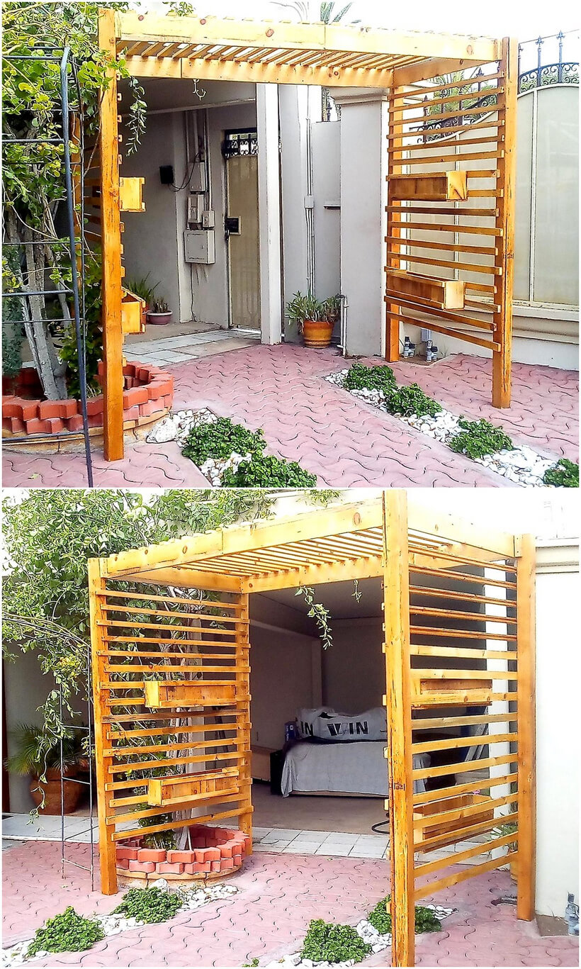 repurposed wood pallet arbor