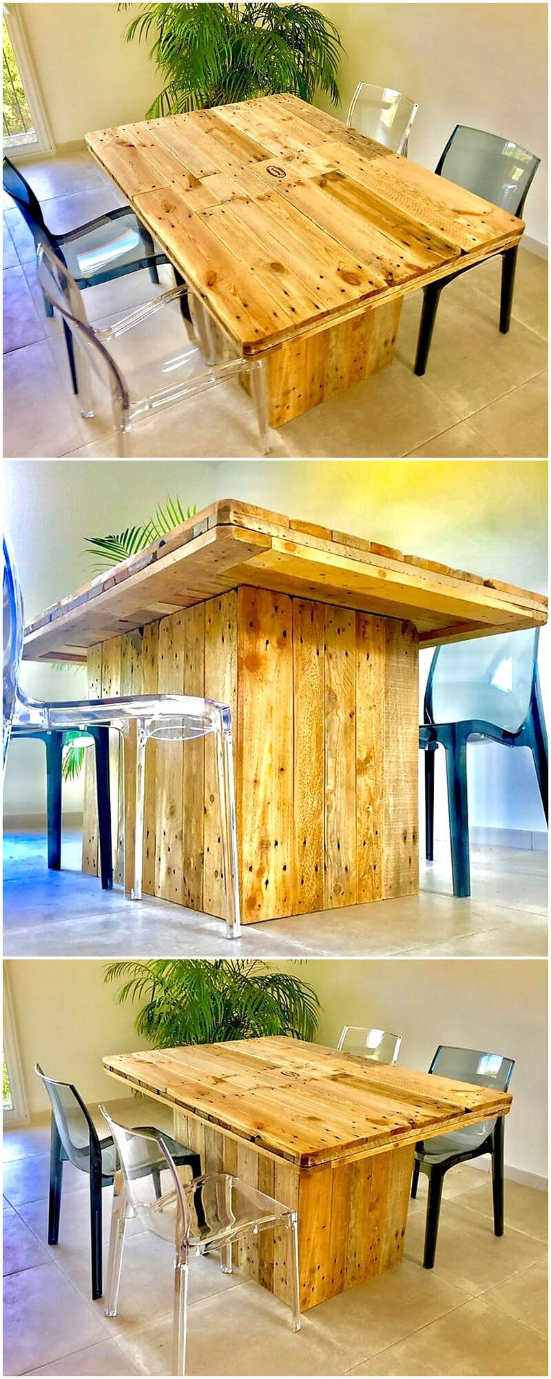 repurposed wood pallet dining table