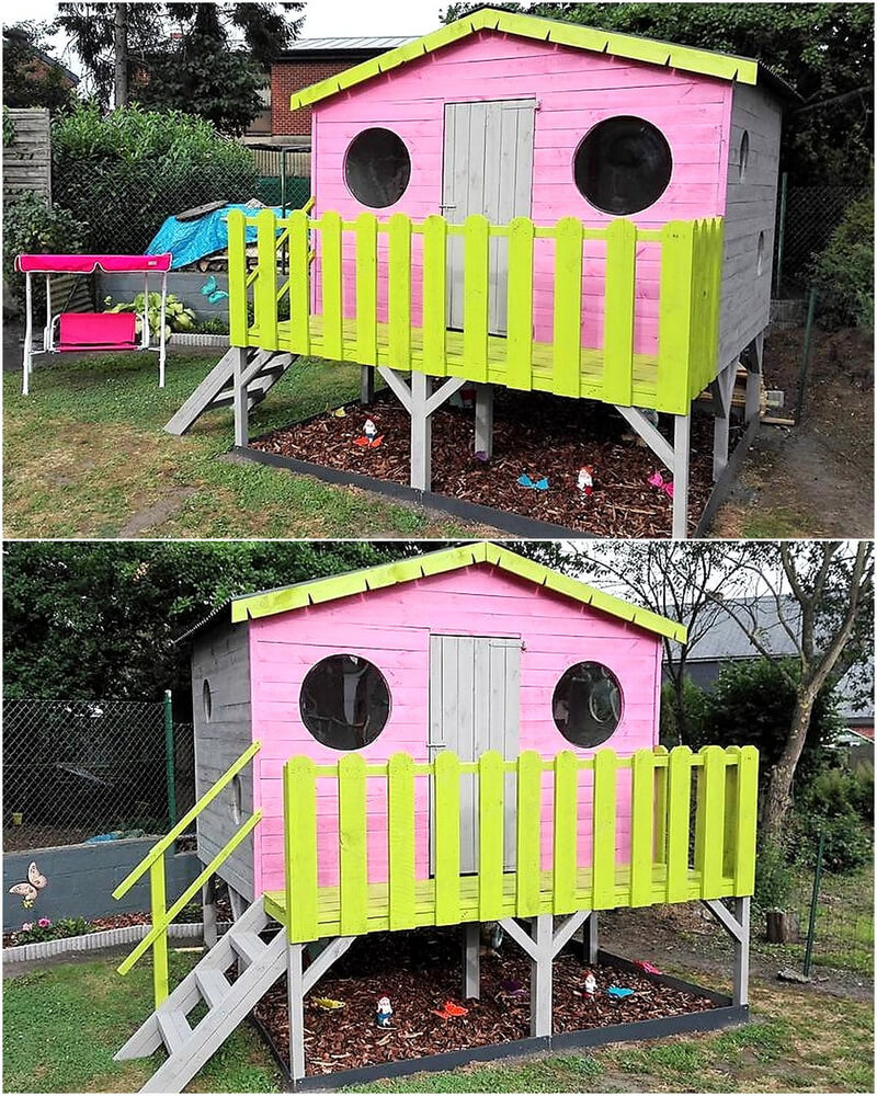 repurposed wood pallet playhouse