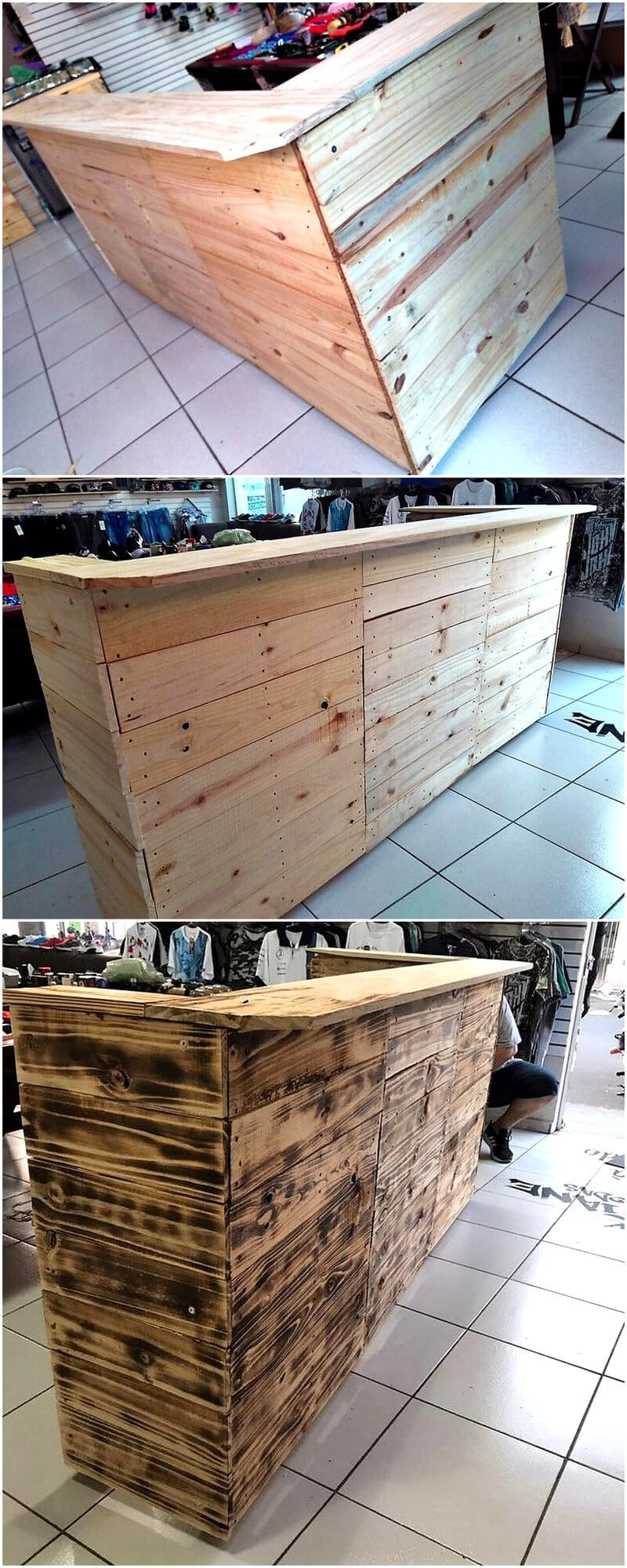 repurposed wood pallet shop counter