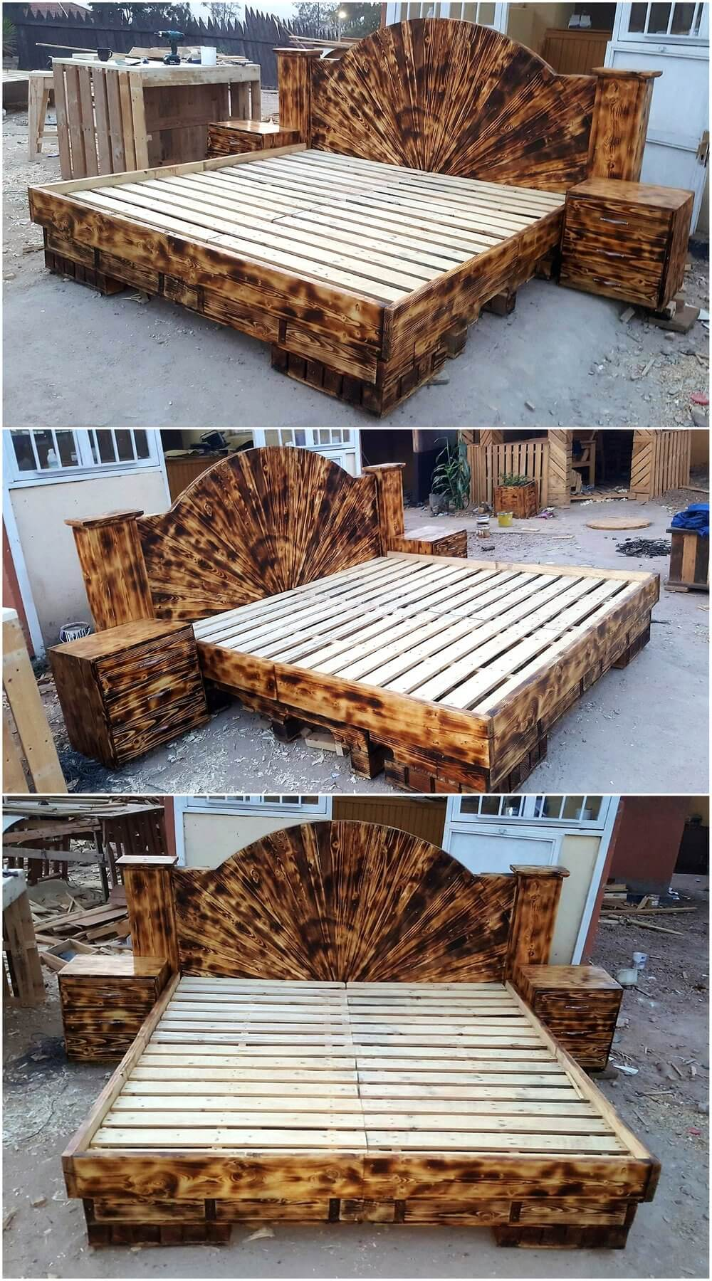 repurposed wood pallets made bed