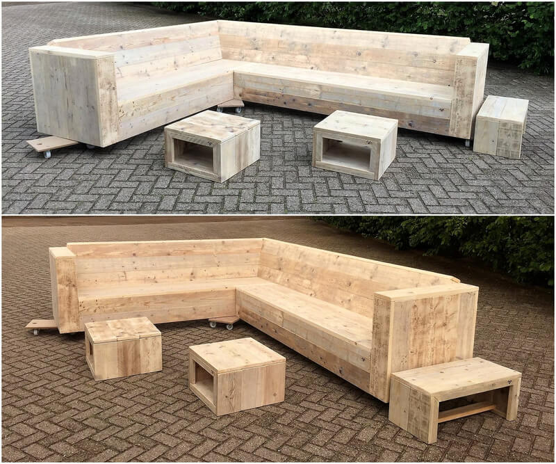 reused pallets wood patio couch on wheels