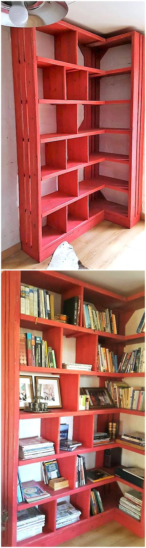 wood pallet bookshelf idea
