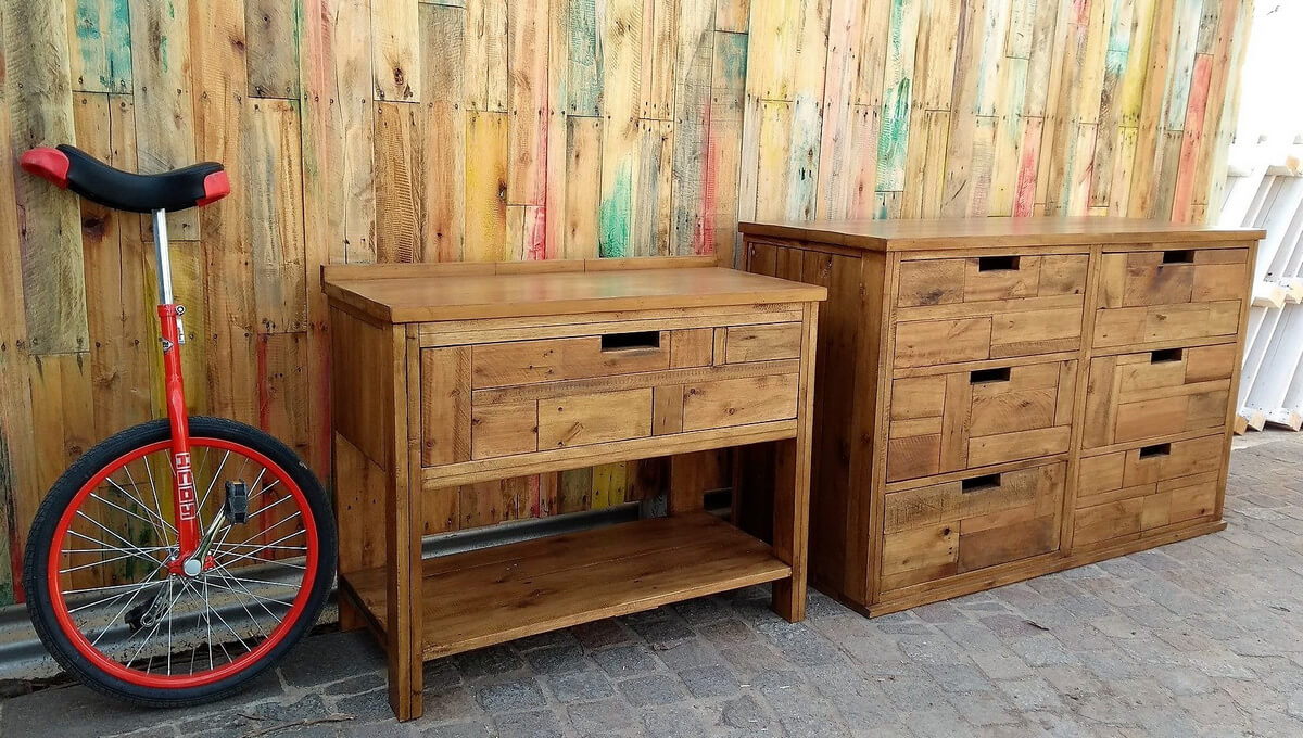 wood pallet dresser and side table