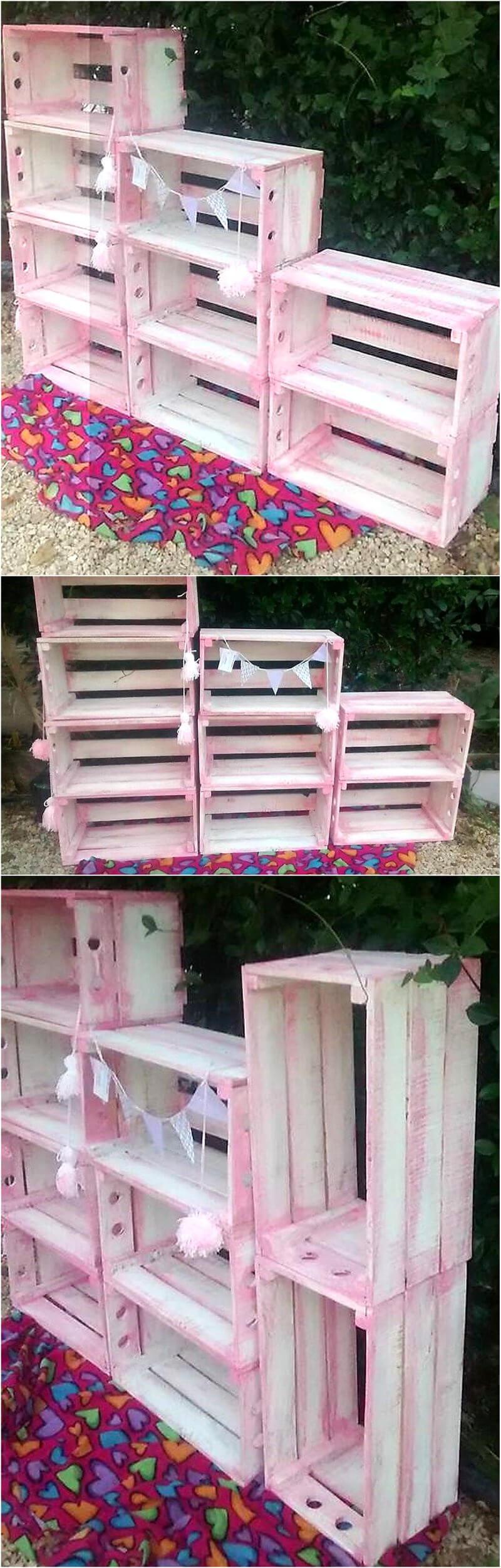 wood pallet fruit crates shelving rack